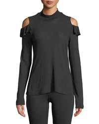 Lanston Turtleneck Ruffle Cold Shoulder Top Black