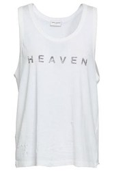 Saint Laurent Woman Printed Cotton Jersey Tank Off White Off White