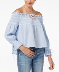 American Rag Juniors' Off The Shoulder Top Created For Macy's Blue
