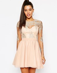 Missguided Lace Sleeve Prom Dress Pink