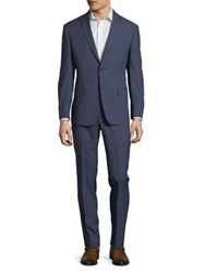 Michael Kors Plaid Wool Suit Blue