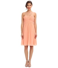 Donna Morgan Sarah Short Chiffon Peach Fuzz Women's Dress Yellow