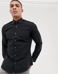 French Connection Plain Poplin Slim Fit Shirt Black