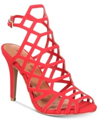 Madden Girl Directt Caged Sandals Red