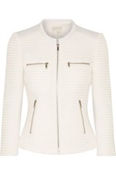 Joie Jenika Textured Cotton Blend And Woven Jacket White