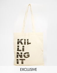Reclaimed Vintage Killing It Canvas Tote Bag Beige