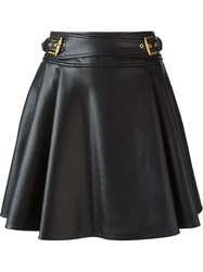 Roberto Cavalli Leatherette Flared Skirt Black