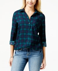 Project 28 Juniors' Plaid Sequined Back Button Front Shirt