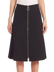 Set Two Way Zip Front A Line Skirt Black