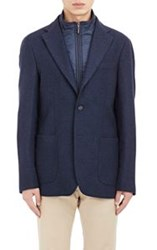 Piattelli Herringbone Two Button Sportcoat Blue Size 38 Regular