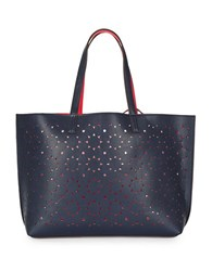 Echo Reversible Cutout Leather Tote Navy Blue