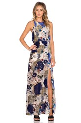 Line And Dot Belle Halter Maxi Dress Blue