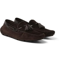 Berluti Polished Leather Trimmed Suede Loafers Brown