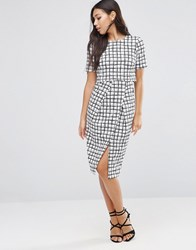 Asos Textured Wrap Wiggle Dress In Check Print Multi