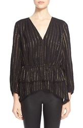 Derek Lam Metallic Stripe Peplum Blouse Black Gold