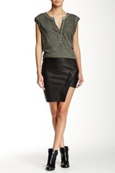 Pam And Gela Asymmetrical Leather Mini Skirt Black