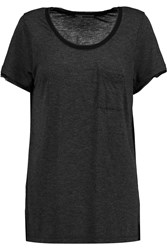 Vince Silk Trimmed Jersey T Shirt Gray