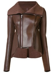 Rick Owens Lilies Asymmetric Zip Up Leather Jacket Brown