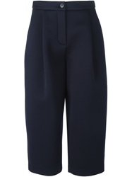 Erika Cavallini Semi Couture Cropped Neoprene Trousers Blue