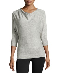 Neiman Marcus Drape Neck Knit Sweater Heather Silver