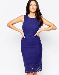 Lavand Pencil Midi Dress With Embroidered Hem Blue