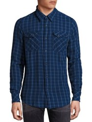 Nudie Jeans Gunnar Rope Twill Check Organic Cotton Shirt Mid Blue