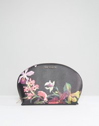 Ted Baker Floral Print Make Up Bag In Black Black