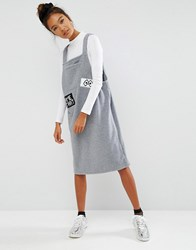 Mini Cream Pinny Dress With Patch Detail And Front Pocket Gy2 Grey