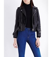 Maje Fringed Leather Biker Jacket Black