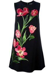 Dolce And Gabbana Embroidered Tulip Shift Dress Black