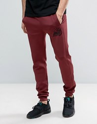 Kings Will Dream Skinny Joggers In Red With Logo Burgundy