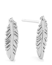 Alex And Ani Precious Metals Symbolic Feather Post Earrings Sterling Silver