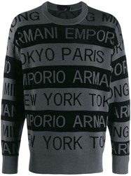 Emporio Armani Logo Stripe Sweater Grey