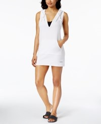 Calvin Klein Active Racerback Hoodie Cover Up Women's Swimsuit Soft White