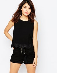 Brave Soul Sleeveless Vest With Lace Trim Black