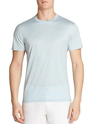 Saks Fifth Avenue Collection Striped Short Sleeve Tee Light Blue