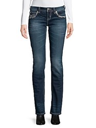 Miss Me Snowflake Embroidered Jeans Dark Blue