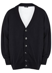 Raf Simons Navy Oversized Cotton Cardigan