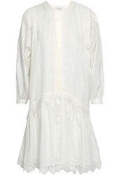 Lover Woman Hazel Lace Trimmed Silk And Cotton Blend Mini Dress Off White Off White