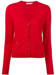 Tory Burch Front Pocket Buttoned Cardigan Women Cotton Xl Red