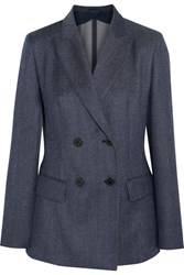 Max Mara Double Breasted Wool Twill Blazer Navy