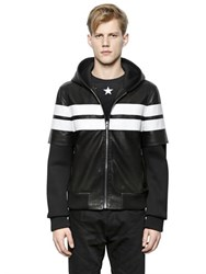 Givenchy Hooded Nappa Leather And Neoprene Jacket