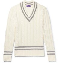 Ralph Lauren Purple Label Striped Cable Knit Cashmere Sweater Cream