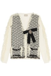 Lanvin Woven Tulle And Cotton Cardigan Off White