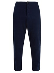 Oliver Spencer Judo Tapered Leg Cropped Cotton Trousers Indigo