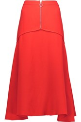 Derek Lam Pleated Silk Midi Skirt Papaya