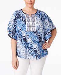 Styleandco. Style And Co. Plus Size Printed Embroidered Poncho Sleeve Peasant Blouse Only At Macy's Python Dye