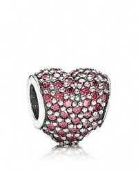 Pandora Design Pandora Charm Sterling Silver And Cubic Zirconia Pave Heart Moments Collection Silver Red