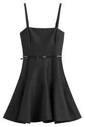 Halston Heritage Cotton Dress With Patent Belt Black