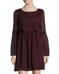 Max Studio Georgette Bell Sleeve Lace Popover Dress Black
